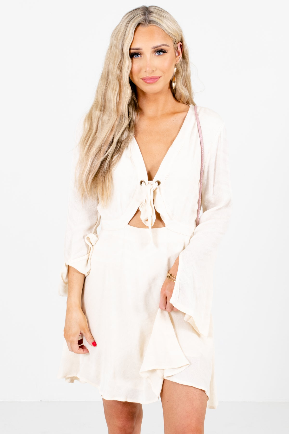 Ivory Self Tie Front Boutique Mini Dresses for Women