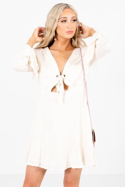 Women's Ivory Cutout Detailed Boutique Mini Dress