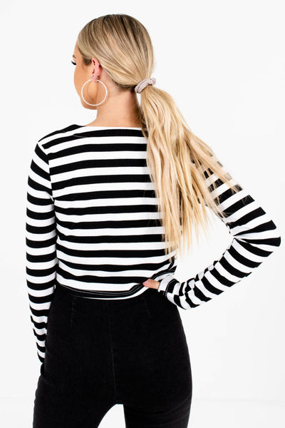 Women's Black Ribbed Material Boutique Tops