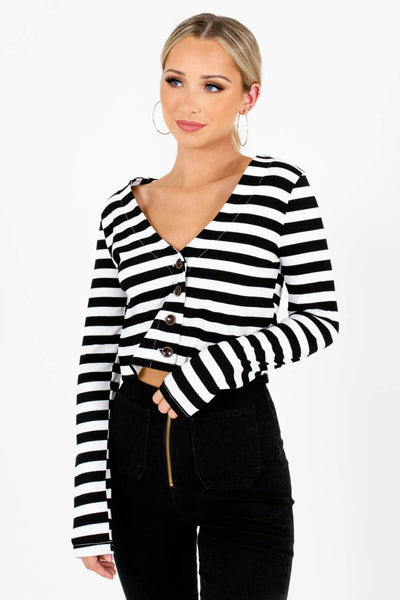 Women's Black Long Sleeve Boutique Tops