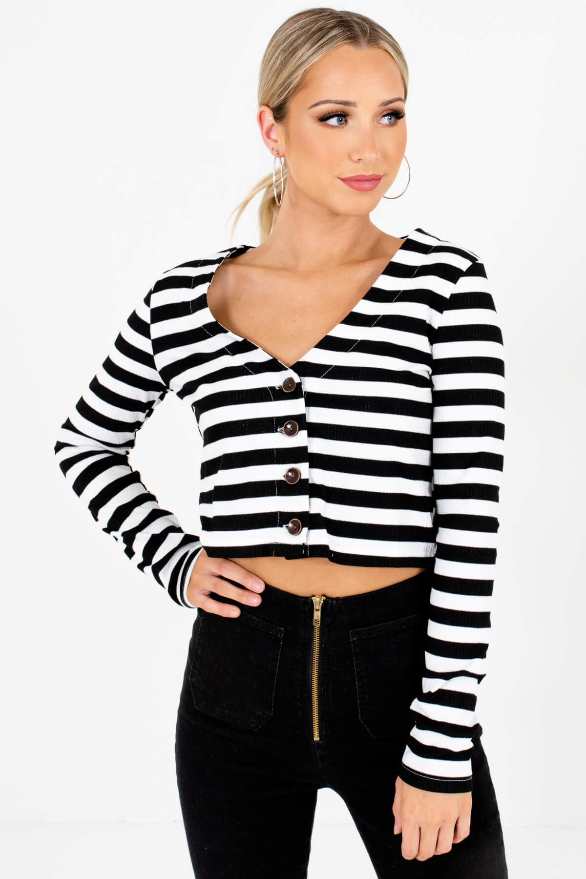Black and White Striped Boutique Crop Tops for Women
