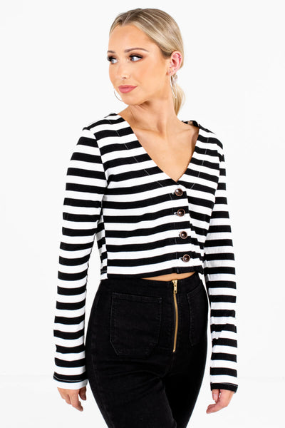 Black Striped V-Neckline Boutique Tops for Women