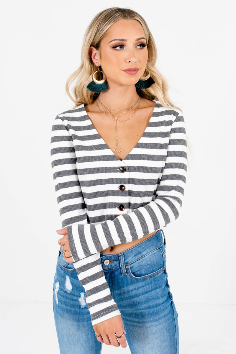 Endless Autumn Gray Striped Top