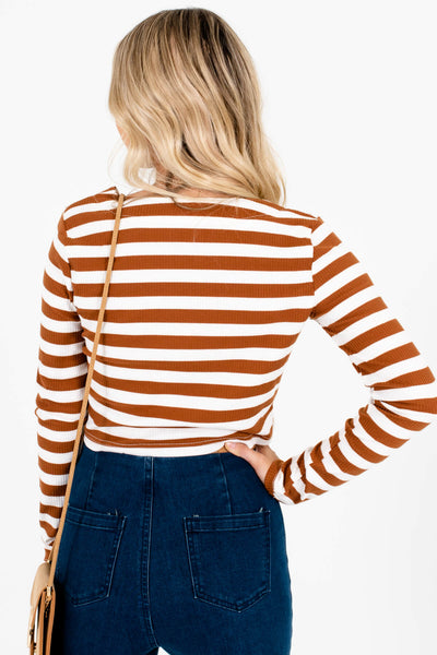 Women's Rust Brown Ribbed Material Boutique Crop Tops