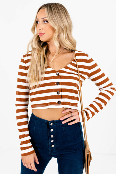 Rust Brown and White Striped Boutique Crop Tops for Women