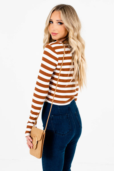 Rust Brown Striped V-Neckline Boutique Tops for Women