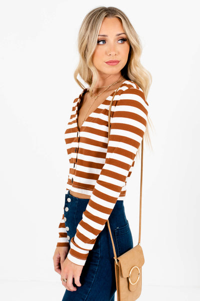 Rust Brown Button-Up Front Boutique Tops for Women