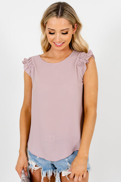 Dusty Mauve Ruffle Sleeve Boutique Blouses for Women