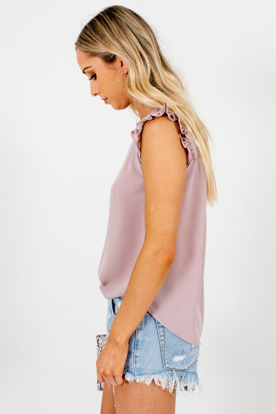 Dusty Mauve Pleated Detailed Boutique Blouses for Women