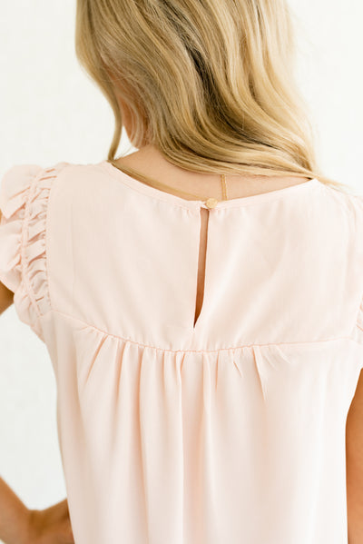 Light Pink Pleated Back Women's Boutique Tops