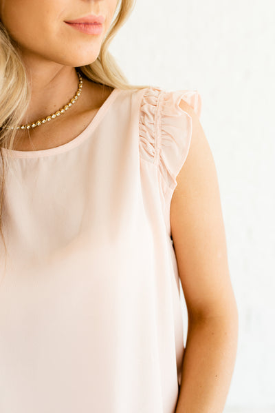 Light Pink Semi-Sheer Boutique Tops for Women