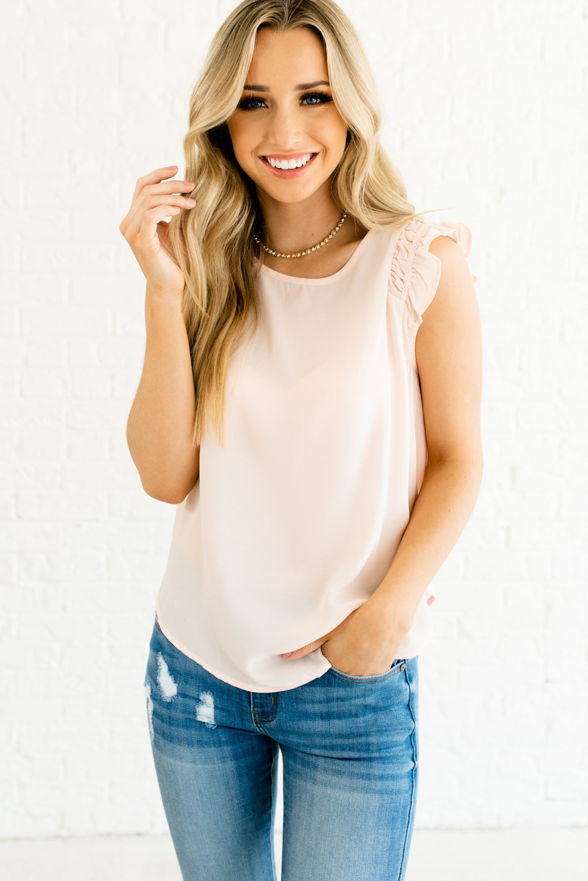 Light Pink Ruffle Sleeve Boutique Tops for Women