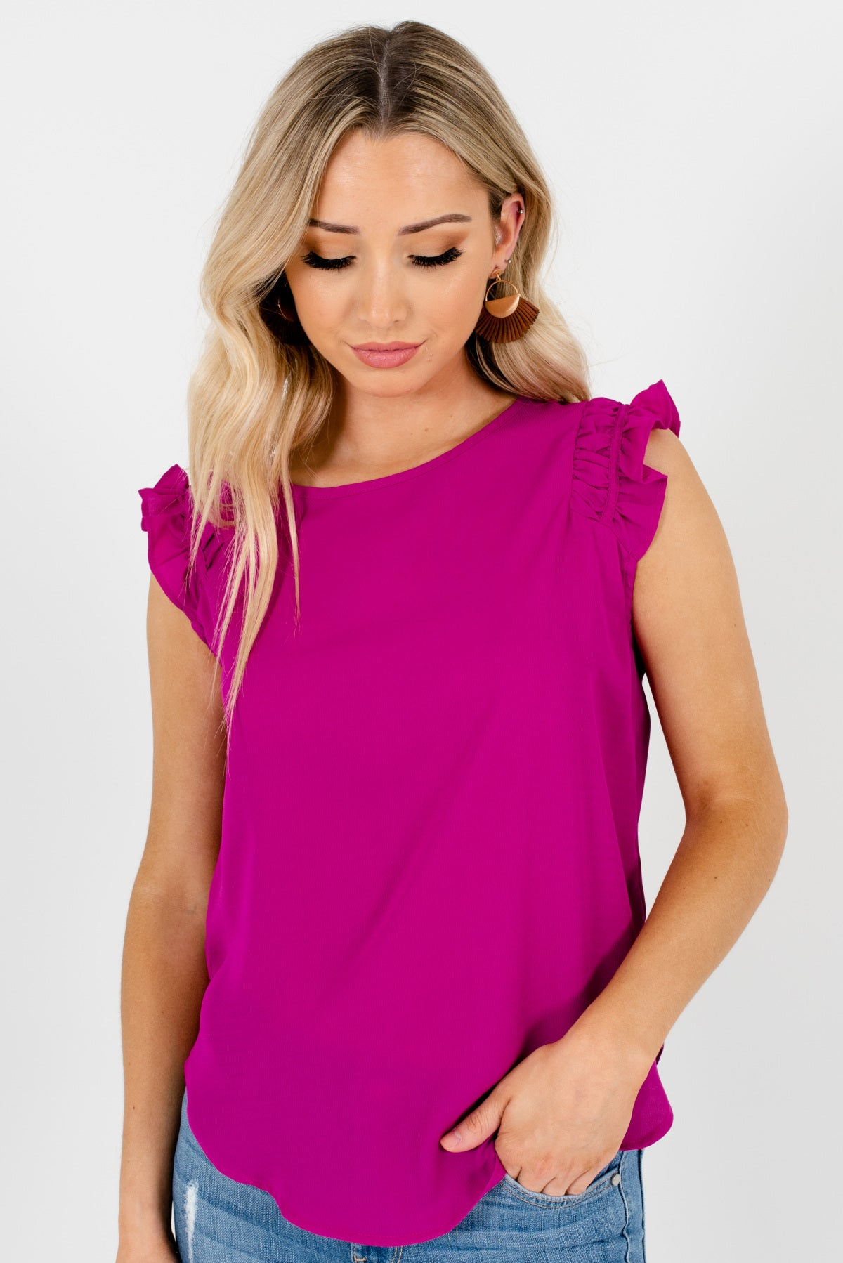 Magenta Purple Ruffle Sleeve Boutique Blouses for Women