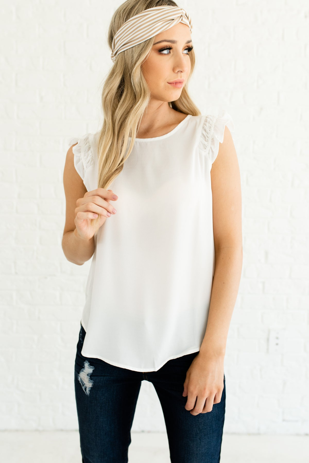 White Ruffled Sleeves Boutique Blouses for Women