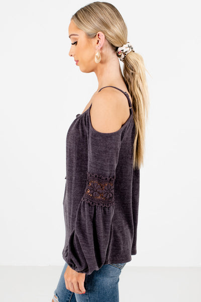 Charcoal Gray Self-Tie Neckline Accent Boutique Tops for Women