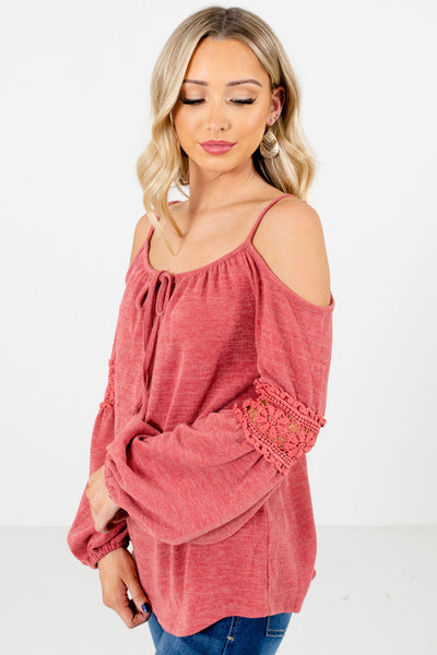 Pink Self-Tie Neckline Accent Boutique Tops for Women