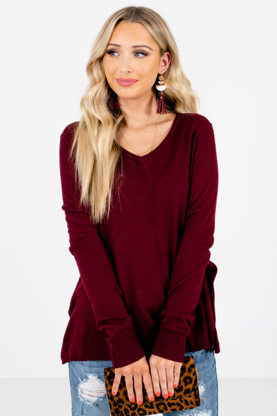 Burgundy V-Neckline Boutique Sweaters for Women