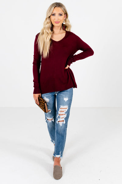 Women's Burgundy Cozy and Warm Boutique Sweaters
