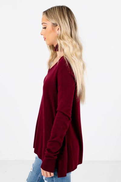 Burgundy Cute and Comfortable Boutique Sweaters for Women
