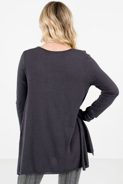 Women's Charcoal Gray High-Low Hem Boutique Sweater