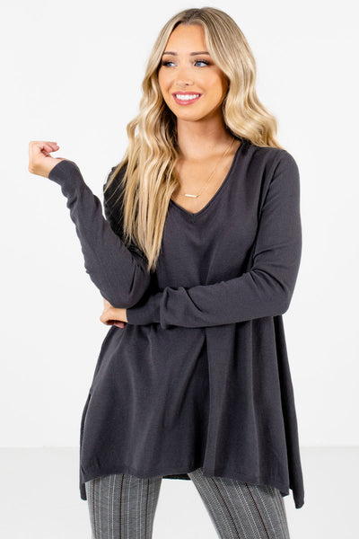 Charcoal Gray Cute and Comfortable Boutique Sweaters for Women