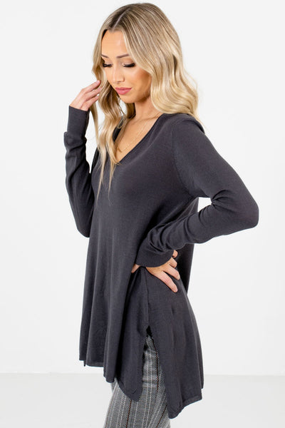 Charcoal Gray V-Neckline Boutique Sweaters for Women