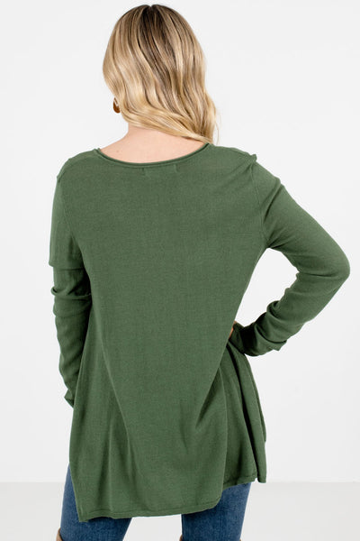 Women's Olive Green High-Low Hem Boutique Sweater