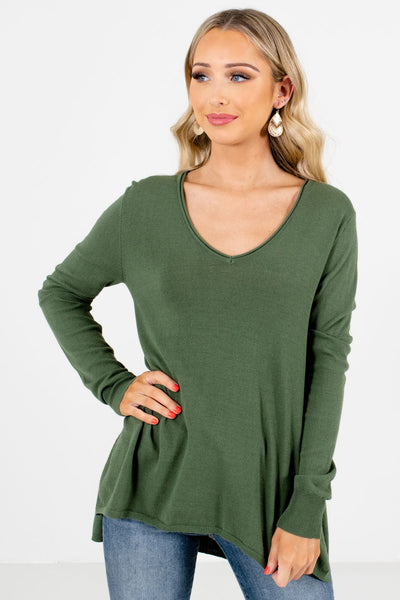 Olive Green Lightweight Knit Material Boutique Sweaters for Women