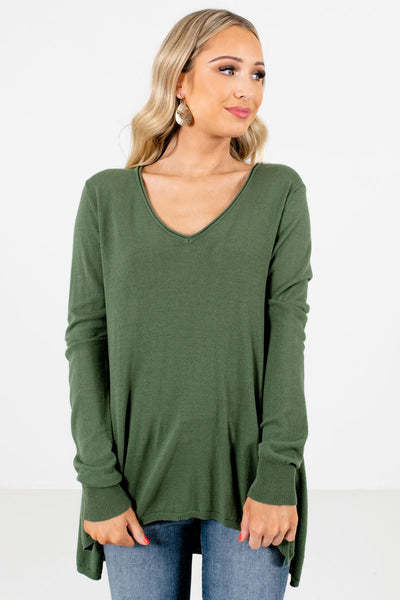 Women's Olive Green Layering Boutique Sweaters