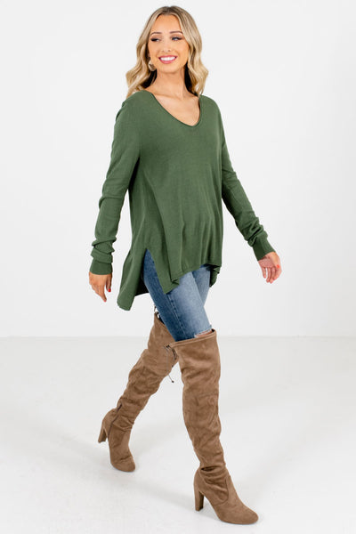 Olive Green Cute and Comfortable Boutique Sweaters for Women
