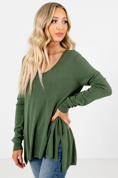 Women's Olive Green Cozy and Warm Boutique Sweaters