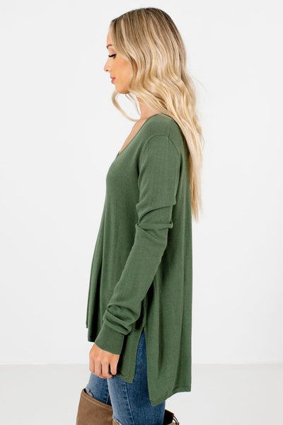 Olive Green V-Neckline Boutique Sweaters for Women