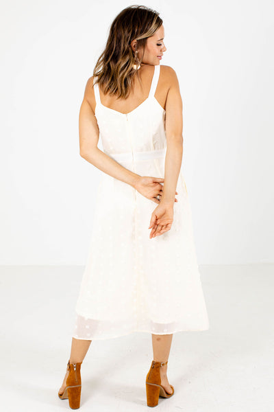 White Back Zipper Boutique Midi Dresses for Women