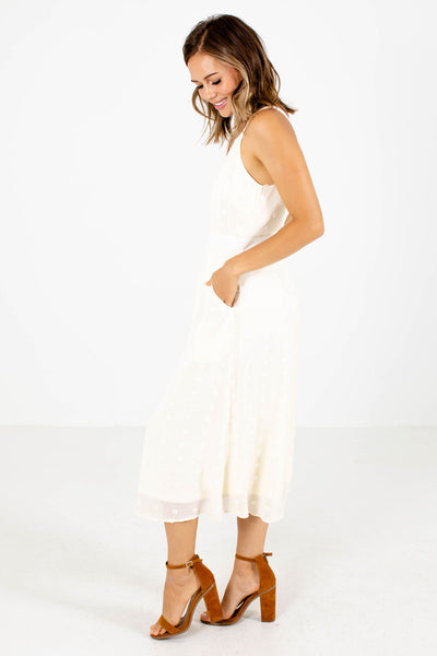 Women's White Boutique Dress with Pockets
