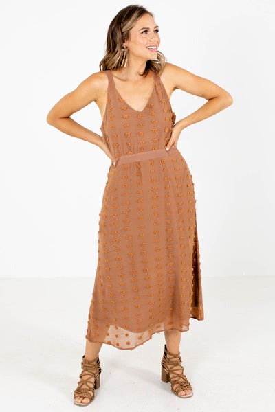 Brown Swiss Dot Material Boutique Midi Dresses for Women