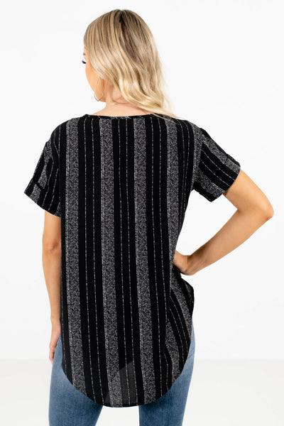 Women's Black Cuffed Sleeve Boutique Tops