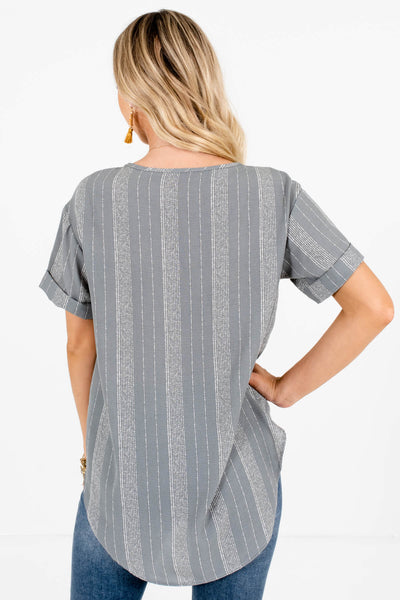 Women's Light Slate Blue Cuffed Sleeve Boutique Tops