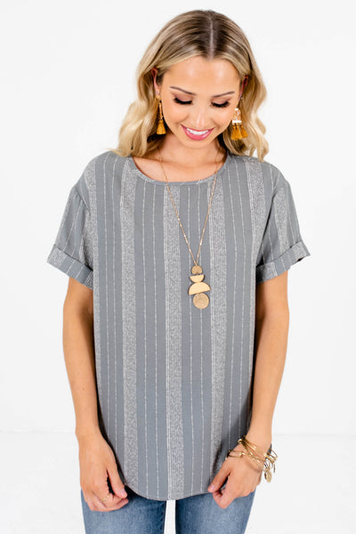 Women's Blue Business Casual Boutique Tops
