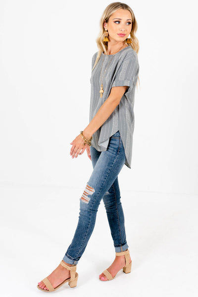 Light Slate Blue Cute and Comfortable Boutique Tops for Women