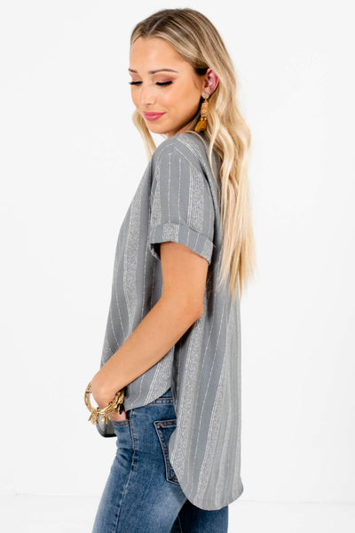 Blue High-Low Hem Boutique Tops for Women
