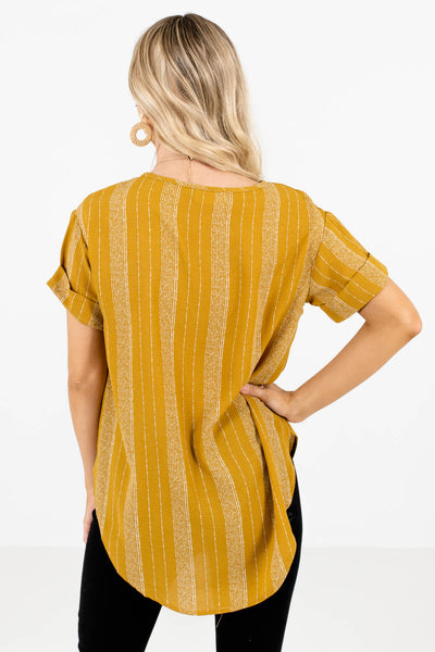 Women's Mustard Yellow Cuffed Sleeve Boutique Tops