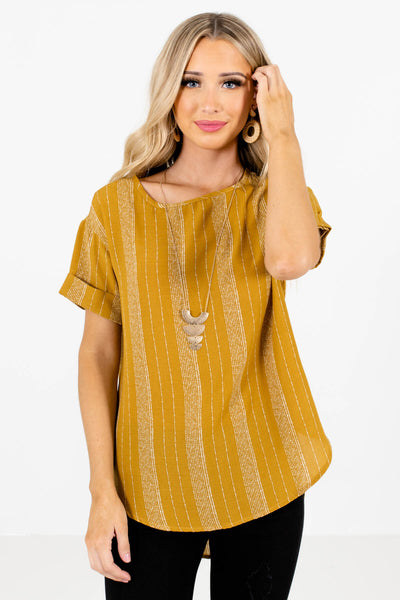 Women's Mustard Yellow Business Casual Boutique Tops