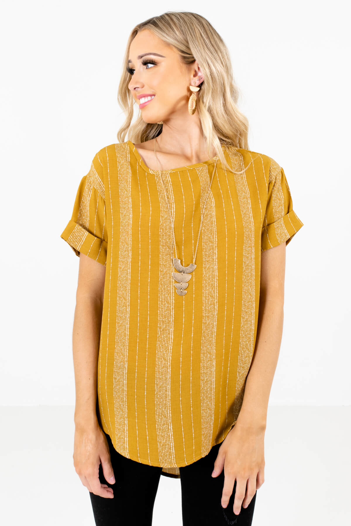 Mustard Yellow and White Stripe Patterned Boutique Tops for Women