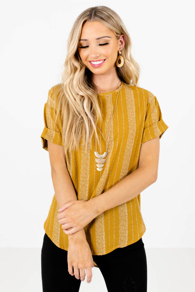 Women's Mustard Yellow Rounded Neckline Boutique Tops