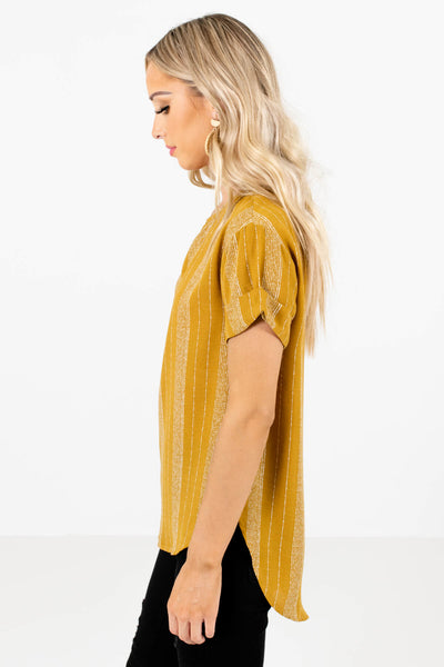 Mustard Yellow High-Low Hem Boutique Tops for Women