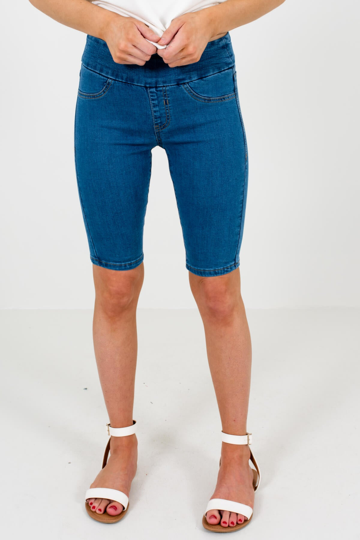 Dark Wash Denim Blue Boutique Jegging Style Shorts for Women