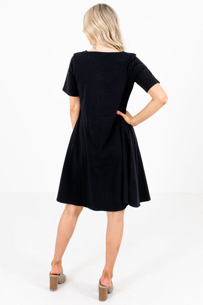 Women's Black Boutique Dresses with Pockets