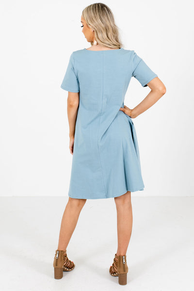 Women's Blue Short Sleeve Boutique Knee-Length Dress