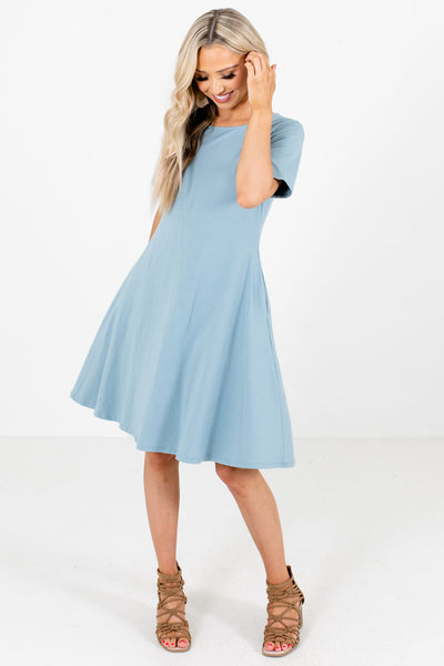 Blue Casual Everyday Boutique Knee-Length Dresses for Women