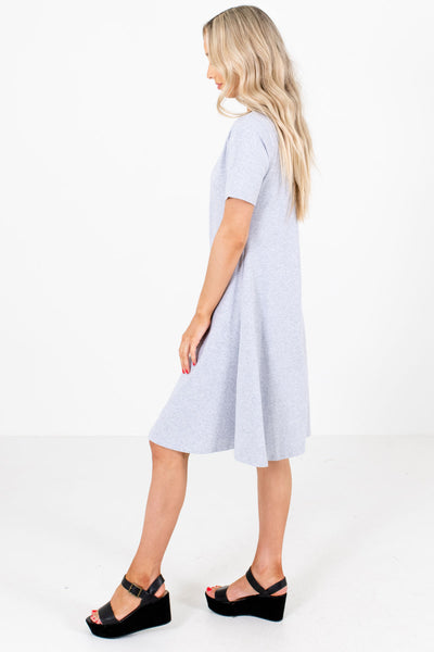 Women's Gray High-Quality Stretchy Material Boutique Dress